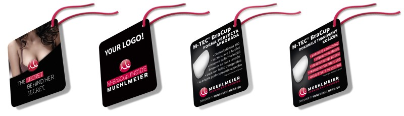 MUEHLMEIER's HangTags clearly communicate the M-BraCup Advantage INSIDE - example